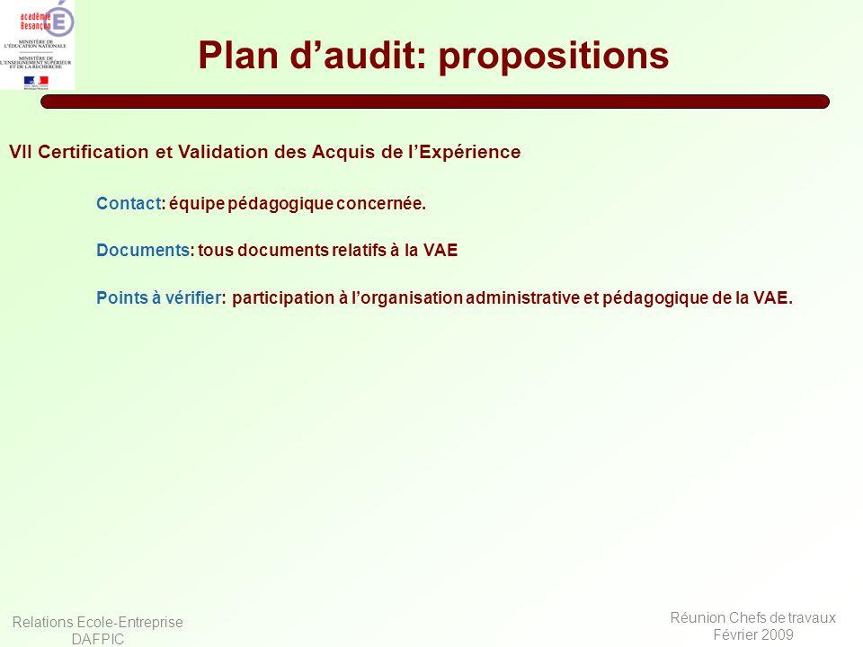 Relations Ecole-Entreprise DAFPIC Réunion Chefs de travaux Février 2009 Plan daudit: propositions VII Certification et Validation des Acquis de lExpér