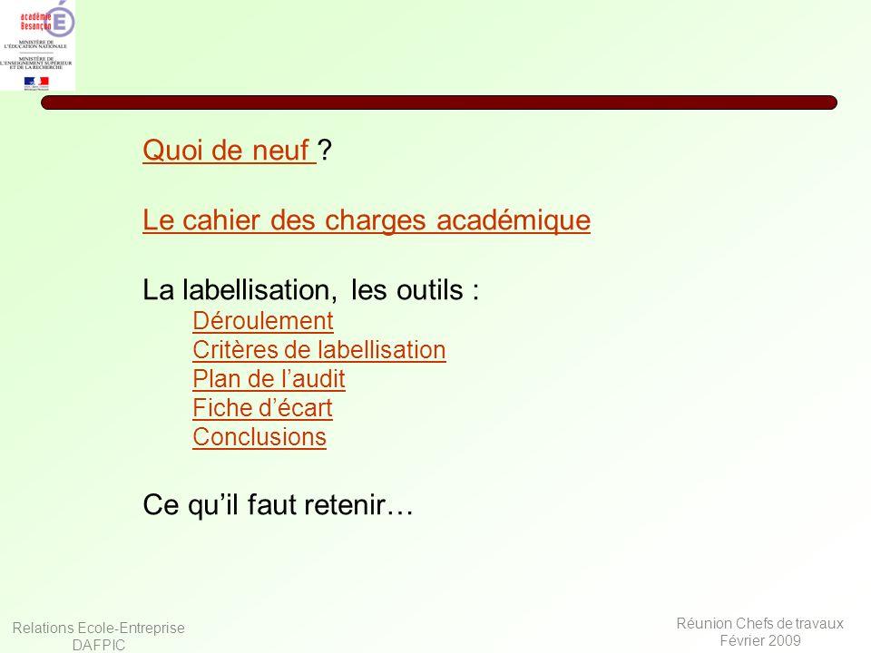 Relations Ecole-Entreprise DAFPIC Réunion Chefs de travaux Février 2009 Quoi de neuf Quoi de neuf ? Le cahier des charges académique La labellisation,