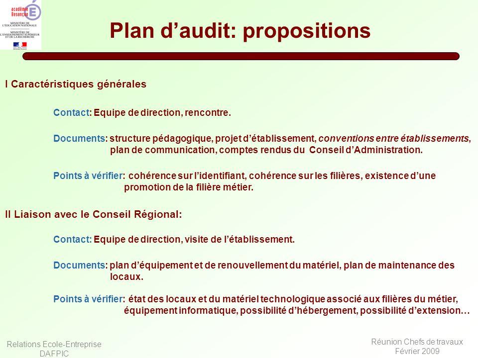 Relations Ecole-Entreprise DAFPIC Réunion Chefs de travaux Février 2009 Plan daudit: propositions I Caractéristiques générales Documents: structure pé