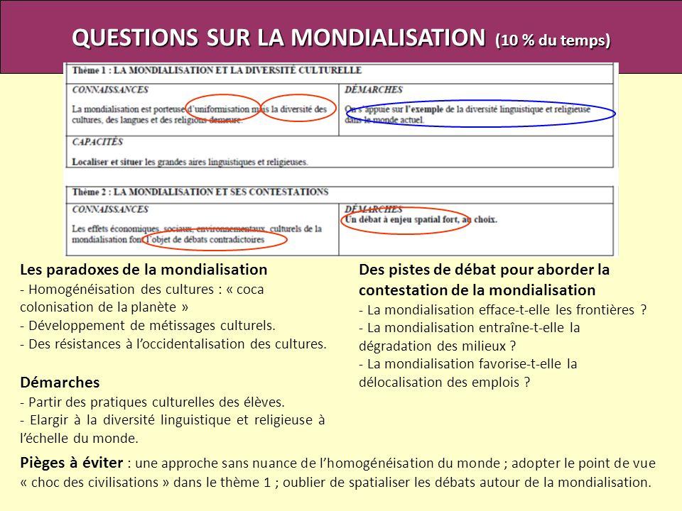 QUESTIONS SUR LA MONDIALISATION (10 % du temps) Pièges à éviter : une approche sans nuance de lhomogénéisation du monde ; adopter le point de vue « ch