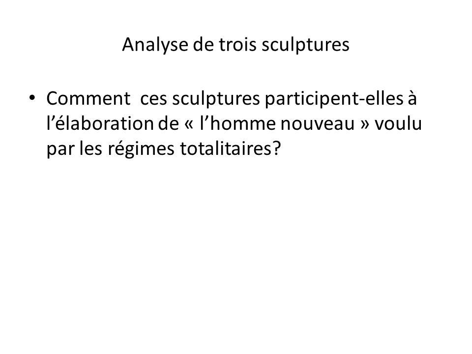 1) Décrire les personnages de chacune de ces œuvres ( attitudes, expressions,matériaux utilisés, références historiques) 2) Selon ces sculptures, à quoi ressemble « lhomme nouveau ».