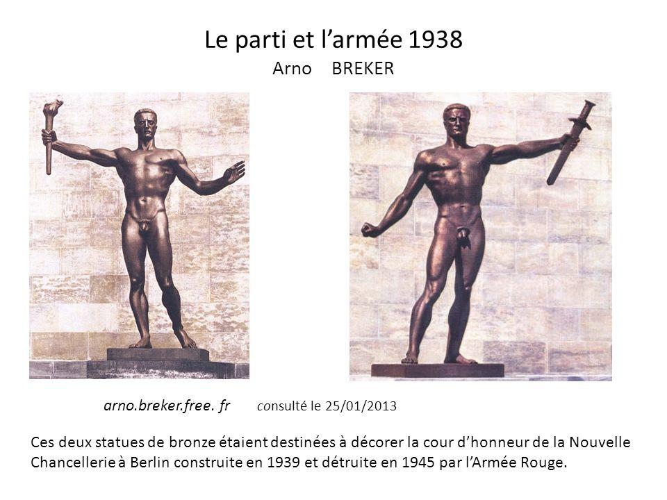 Le parti et larmée 1938 Arno BREKER Ces deux statues de bronze étaient destinées à décorer la cour dhonneur de la Nouvelle Chancellerie à Berlin const