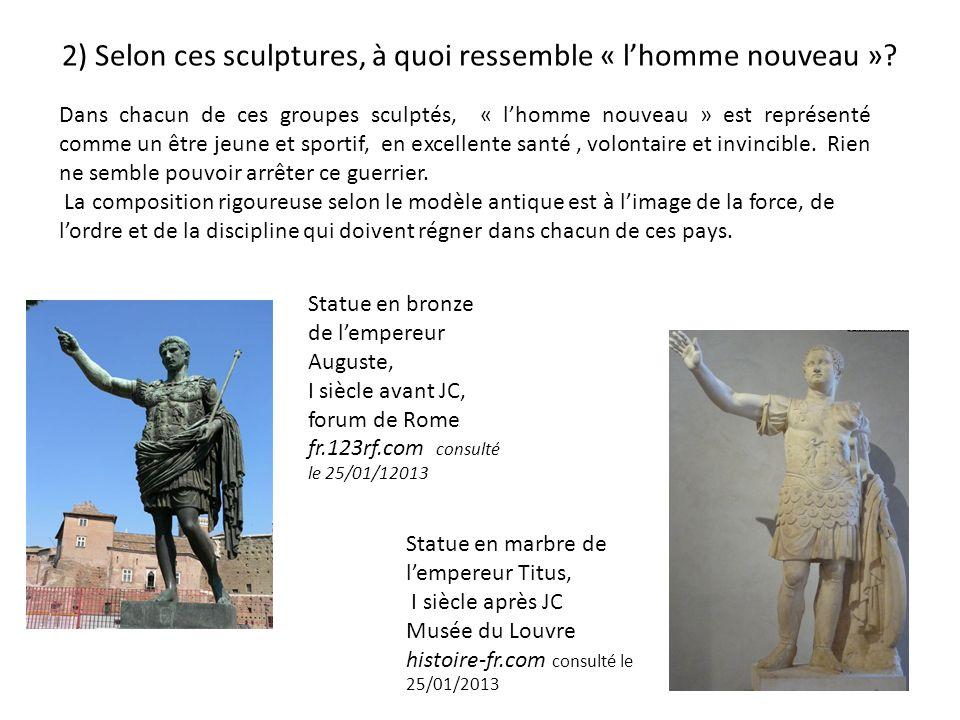 3) En quoi chacune de ces sculptures traduit-elle un aspect spécifique des régimes fasciste, stalinien et nazi Régime fasciste: Exaltation de la nation italienne chaque statue a été offerte par une province italienne.