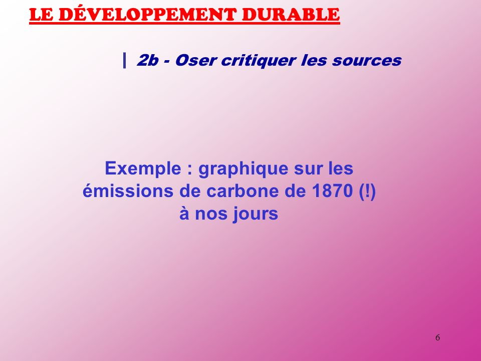 6 LE DÉVELOPPEMENT DURABLE 2b - Oser critiquer les sources Exemple : graphique sur les émissions de carbone de 1870 (!) à nos jours