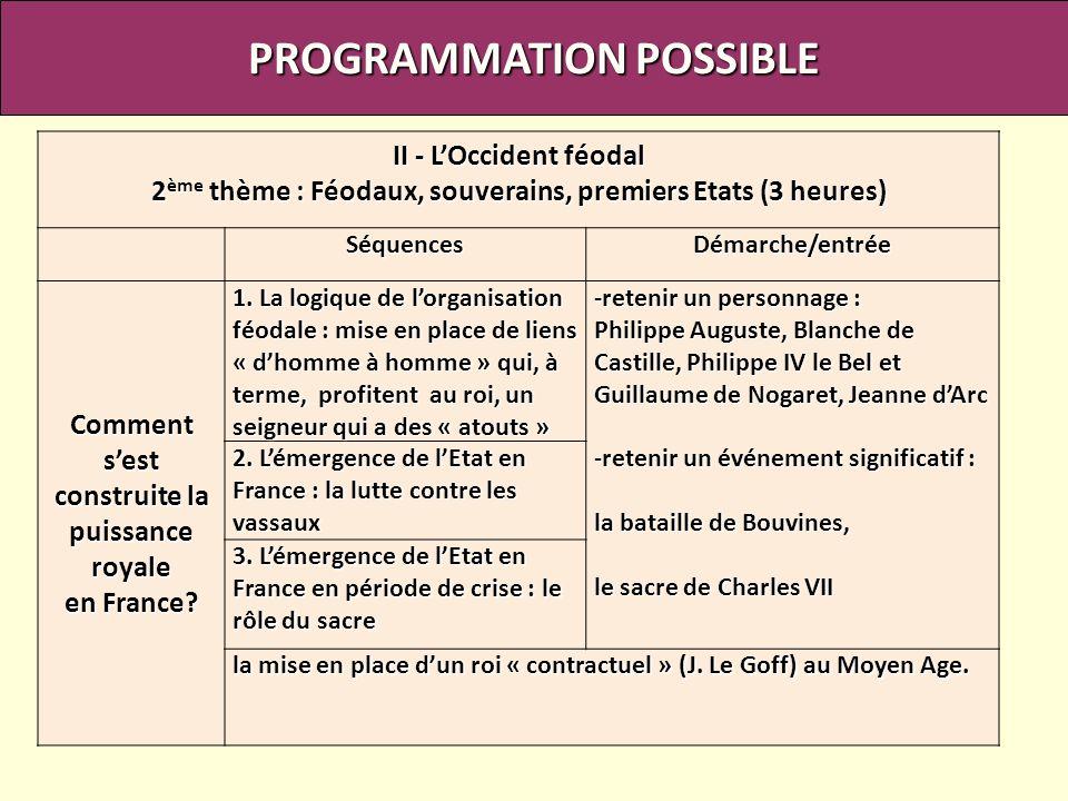 PROGRAMMATION POSSIBLE II - LOccident féodal 2 ème thème : Féodaux, souverains, premiers Etats (3 heures) SéquencesDémarche/entrée Comment sest constr