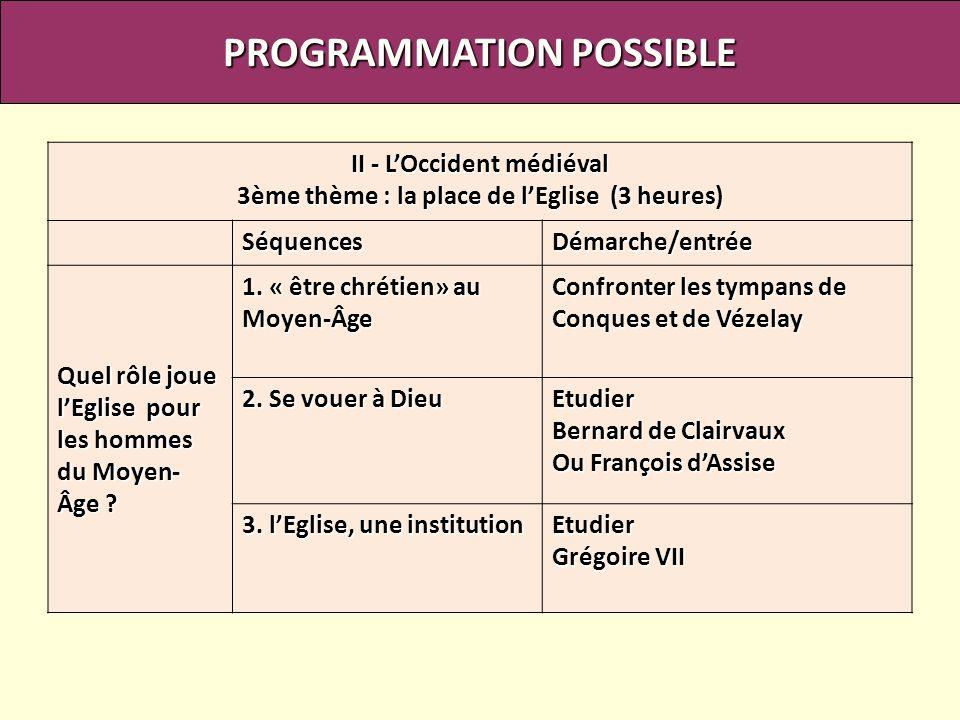 PROGRAMMATION POSSIBLE II - LOccident médiéval 3ème thème : la place de lEglise (3 heures) SéquencesDémarche/entrée Quel rôle joue lEglise pour les ho