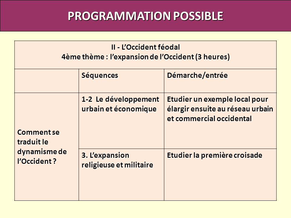 PROGRAMMATION POSSIBLE II - LOccident féodal 4ème thème : lexpansion de lOccident (3 heures) SéquencesDémarche/entrée Comment se traduit le dynamisme