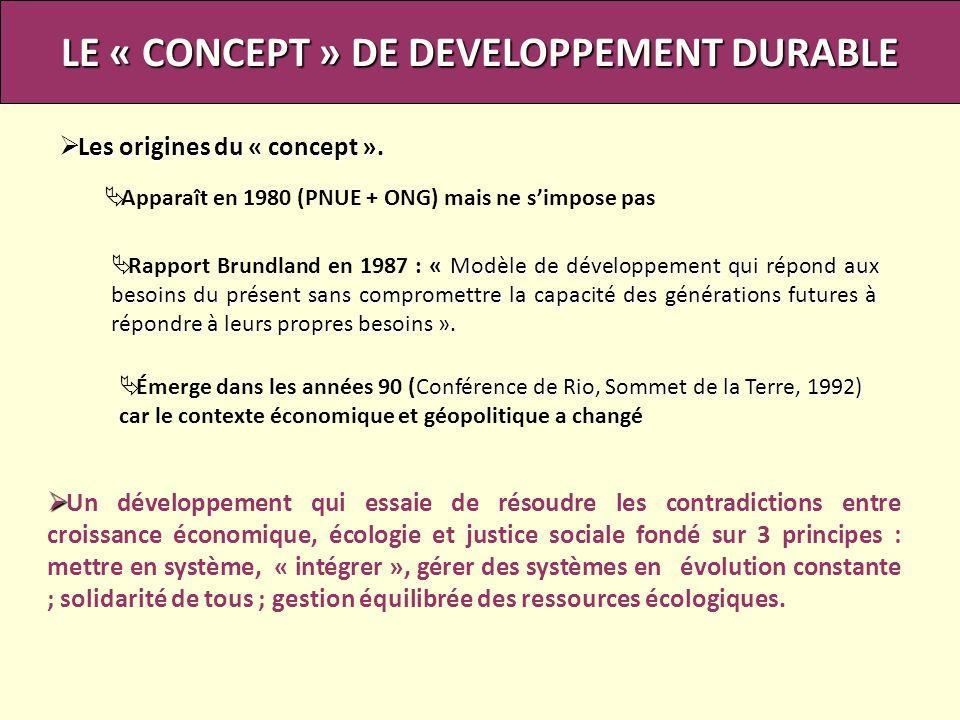 Les origines du « concept ». Les origines du « concept ». LE « CONCEPT » DE DEVELOPPEMENT DURABLE Apparaît en 1980 (PNUE + ONG) mais ne simpose pas Mo
