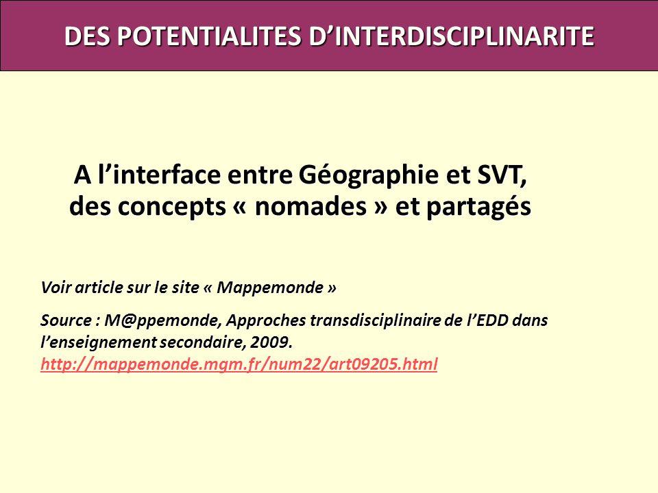 DES POTENTIALITES DINTERDISCIPLINARITE A linterface entre Géographie et SVT, des concepts « nomades » et partagés Voir article sur le site « Mappemond