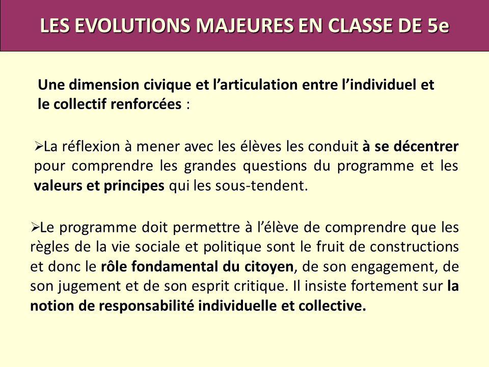 LES EVOLUTIONS MAJEURES EN CLASSE DE 5e Une dimension civique et larticulation entre lindividuel et le collectif renforcées : La réflexion à mener ave