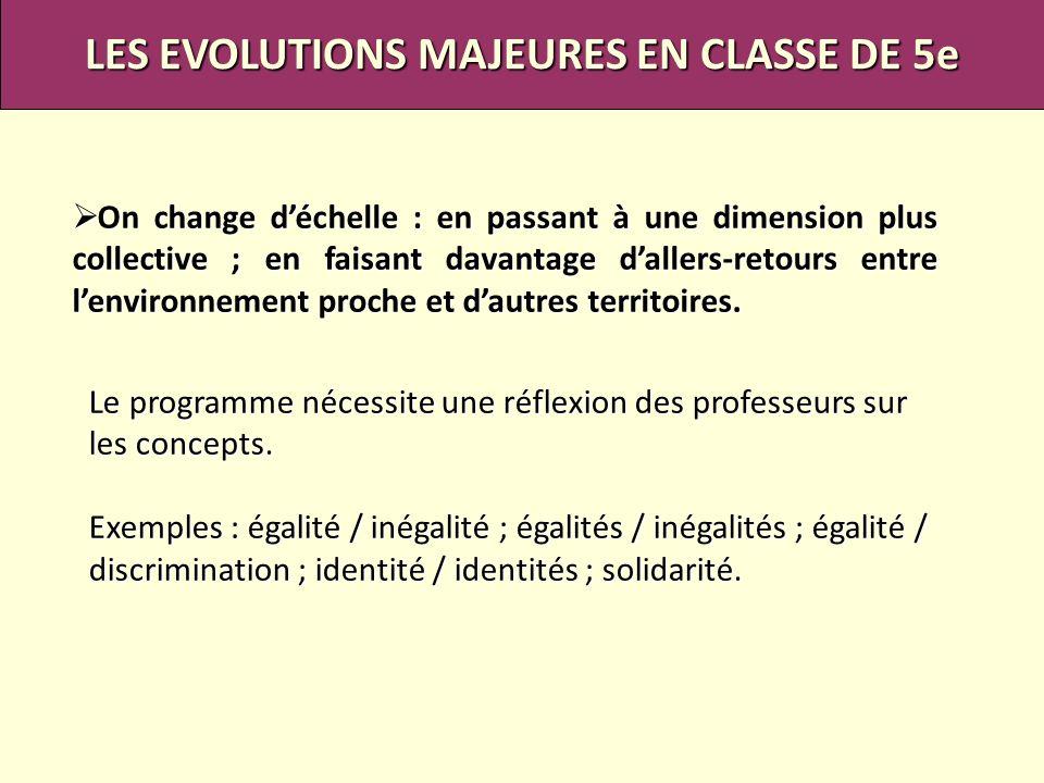LES EVOLUTIONS MAJEURES EN CLASSE DE 5e On change déchelle : en passant à une dimension plus collective ; en faisant davantage dallers-retours entre l