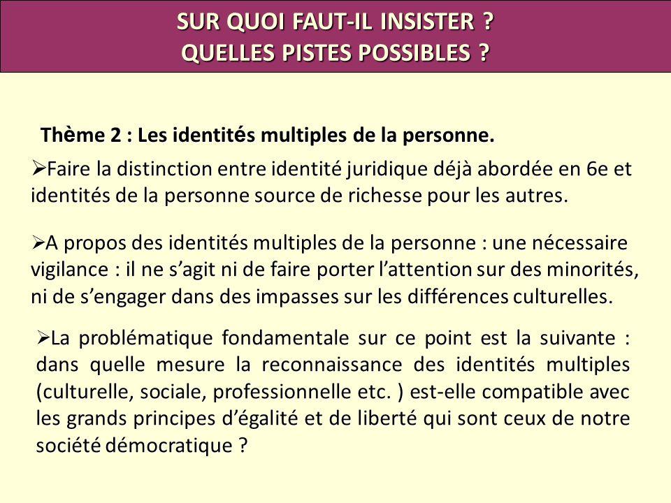 Th è me 2 : Les identit é s multiples de la personne. SUR QUOI FAUT-IL INSISTER ? QUELLES PISTES POSSIBLES ? Faire la distinction entre identité jurid