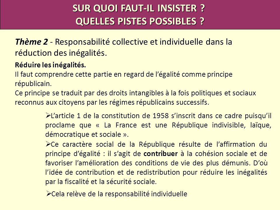 SUR QUOI FAUT-IL INSISTER ? QUELLES PISTES POSSIBLES ? Thème 2 - Responsabilité collective et individuelle dans la réduction des inégalités. Réduire l