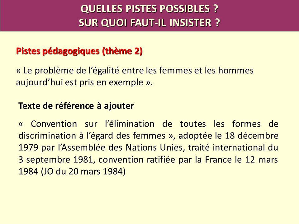 QUELLES PISTES POSSIBLES ? SUR QUOI FAUT-IL INSISTER ? Pistes pédagogiques (thème 2) « Le problème de légalité entre les femmes et les hommes aujourdh