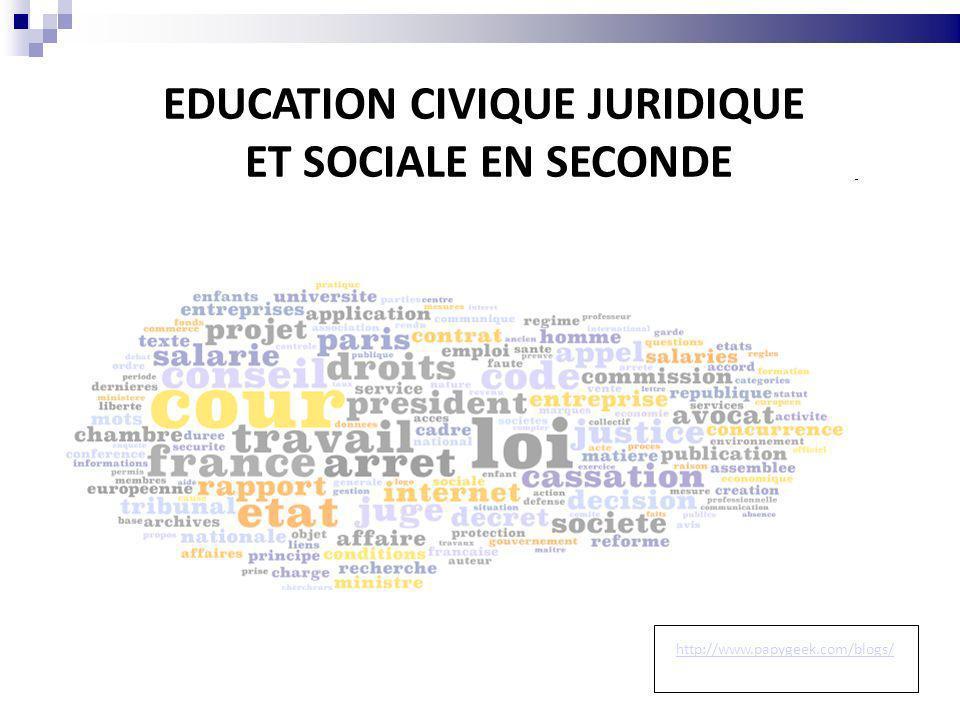 EDUCATION CIVIQUE JURIDIQUE ET SOCIALE EN SECONDE http://www.papygeek.com/blogs/