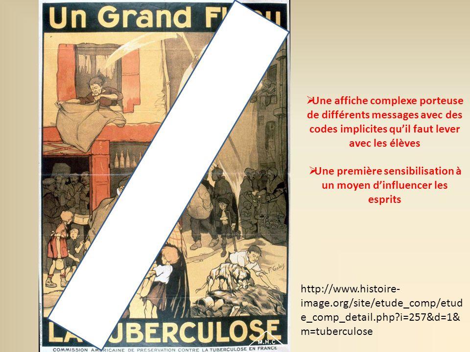 Une affiche complexe porteuse de différents messages avec des codes implicites quil faut lever avec les élèves Une première sensibilisation à un moyen dinfluencer les esprits http://www.histoire- image.org/site/etude_comp/etud e_comp_detail.php?i=257&d=1& m=tuberculose