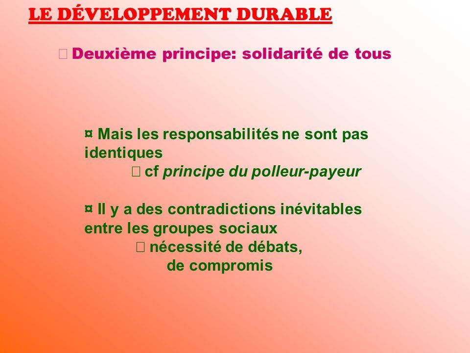LE DÉVELOPPEMENT DURABLE Deuxième principe: solidarité de tous ¤ Mais les responsabilités ne sont pas identiques cf principe du polleur-payeur ¤ Il y