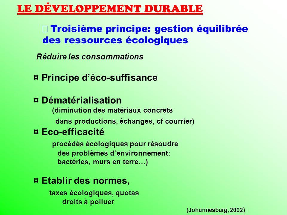 LE DÉVELOPPEMENT DURABLE Troisième principe: gestion équilibrée des ressources écologiques Réduire les consommations ¤ Principe déco-suffisance ¤ Déma