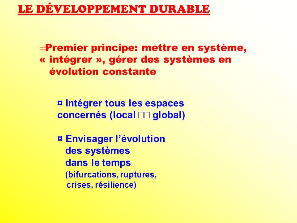 LE DÉVELOPPEMENT DURABLE Premier principe: mettre en système, « intégrer », gérer des systèmes en évolution constante ¤ Intégrer tous les espaces conc
