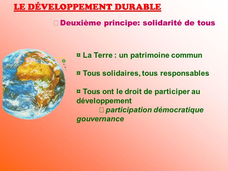 LE DÉVELOPPEMENT DURABLE Deuxième principe: solidarité de tous ¤ La Terre : un patrimoine commun ¤ Tous solidaires, tous responsables ¤ Tous ont le dr