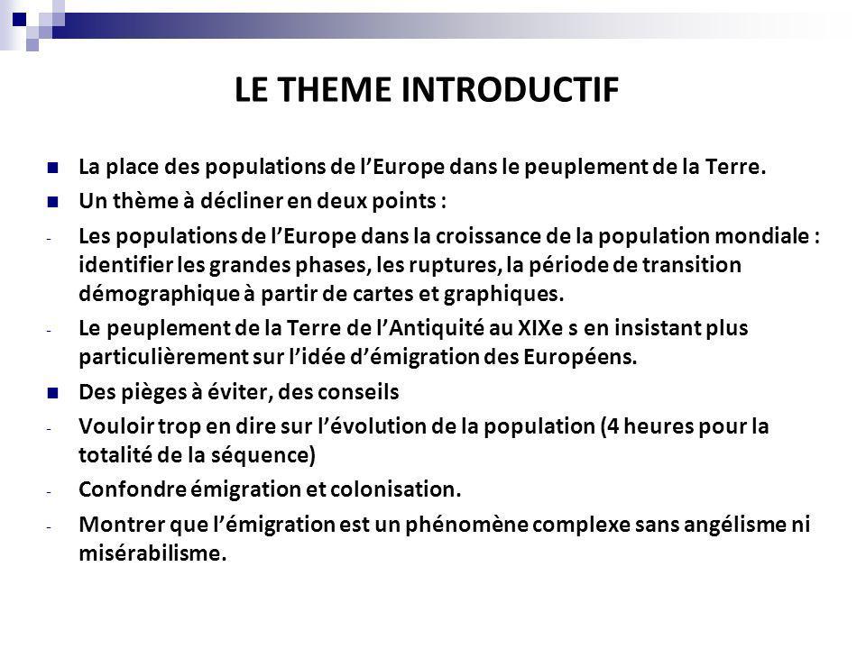 LE THEME INTRODUCTIF La place des populations de lEurope dans le peuplement de la Terre. Un thème à décliner en deux points : - Les populations de lEu