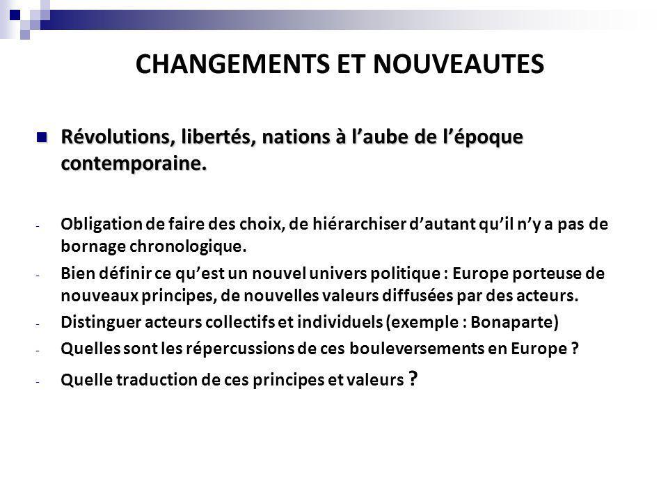 CHANGEMENTS ET NOUVEAUTES Révolutions, libertés, nations à laube de lépoque contemporaine. Révolutions, libertés, nations à laube de lépoque contempor