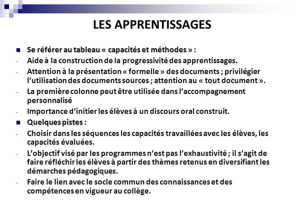 LES APPRENTISSAGES Se référer au tableau « capacités et méthodes » : Se référer au tableau « capacités et méthodes » : - Aide à la construction de la progressivité des apprentissages.