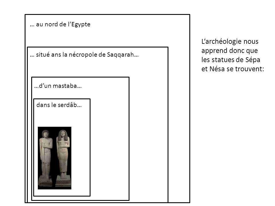 dans le serdâb… …dun mastaba… … situé ans la nécropole de Saqqarah… … au nord de lEgypte Larchéologie nous apprend donc que les statues de Sépa et Nésa se trouvent: