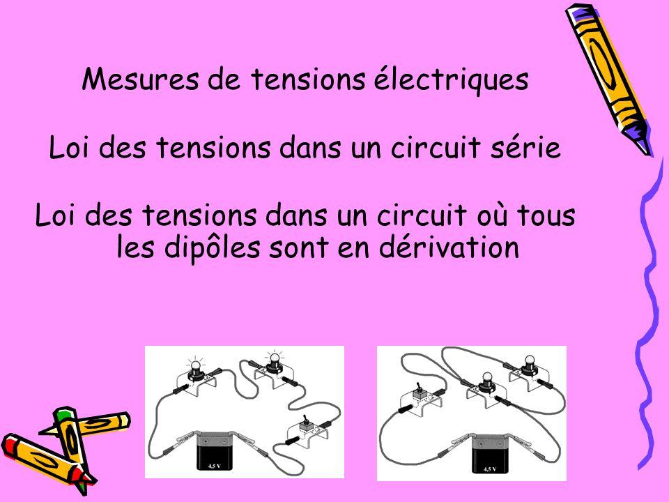 Mesures de tensions électriques Loi des tensions dans un circuit série Loi des tensions dans un circuit où tous les dipôles sont en dérivation