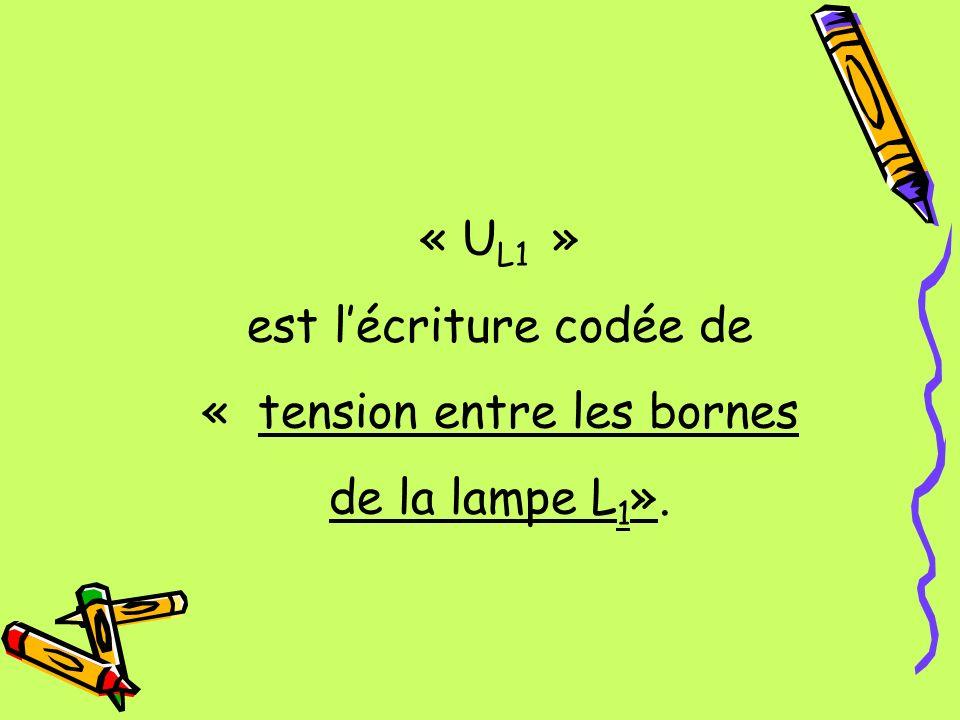 « U L1 » est lécriture codée de « tension entre les bornes de la lampe L 1 ».
