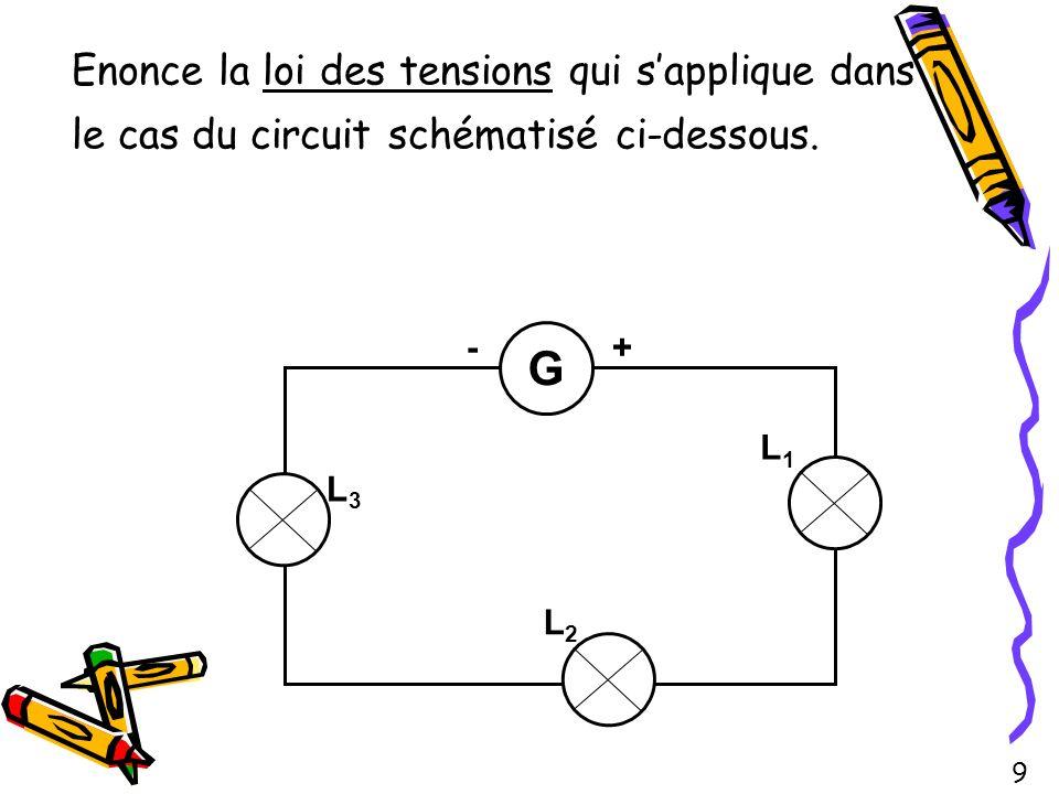 Enonce la loi des tensions qui sapplique dans le cas du circuit schématisé ci-dessous. G L2L2 L1L1 L3L3 -+ 9