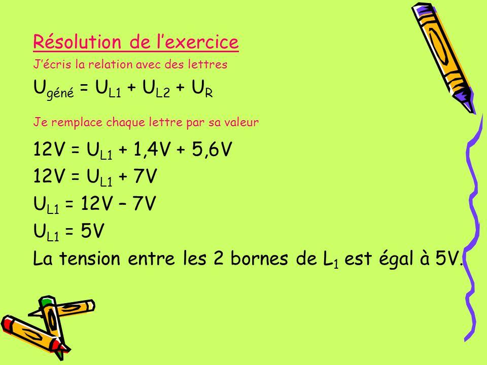 Résolution de lexercice Jécris la relation avec des lettres U géné = U L1 + U L2 + U R Je remplace chaque lettre par sa valeur 12V = U L1 + 1,4V + 5,6
