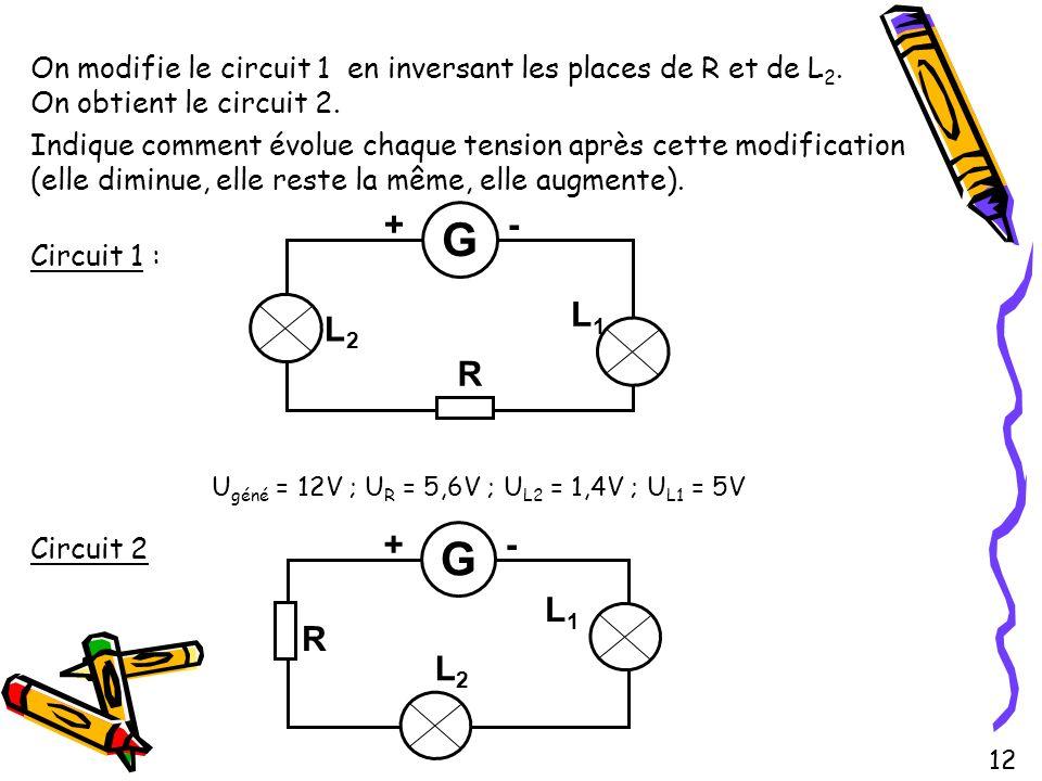 On modifie le circuit 1 en inversant les places de R et de L 2. On obtient le circuit 2. Indique comment évolue chaque tension après cette modificatio