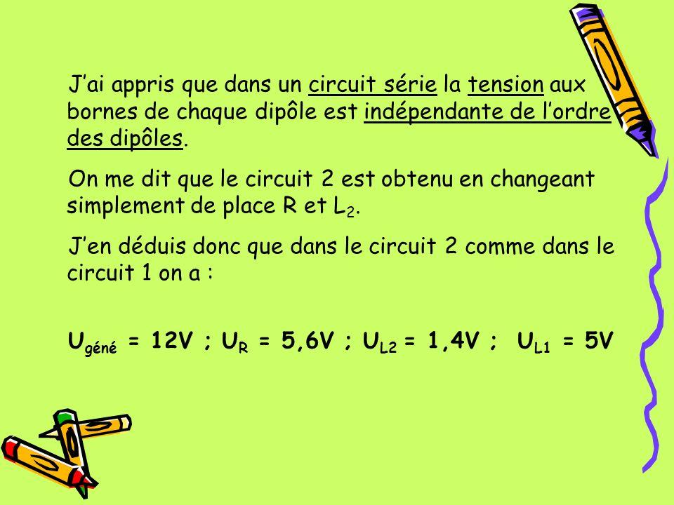 Jai appris que dans un circuit série la tension aux bornes de chaque dipôle est indépendante de lordre des dipôles. On me dit que le circuit 2 est obt