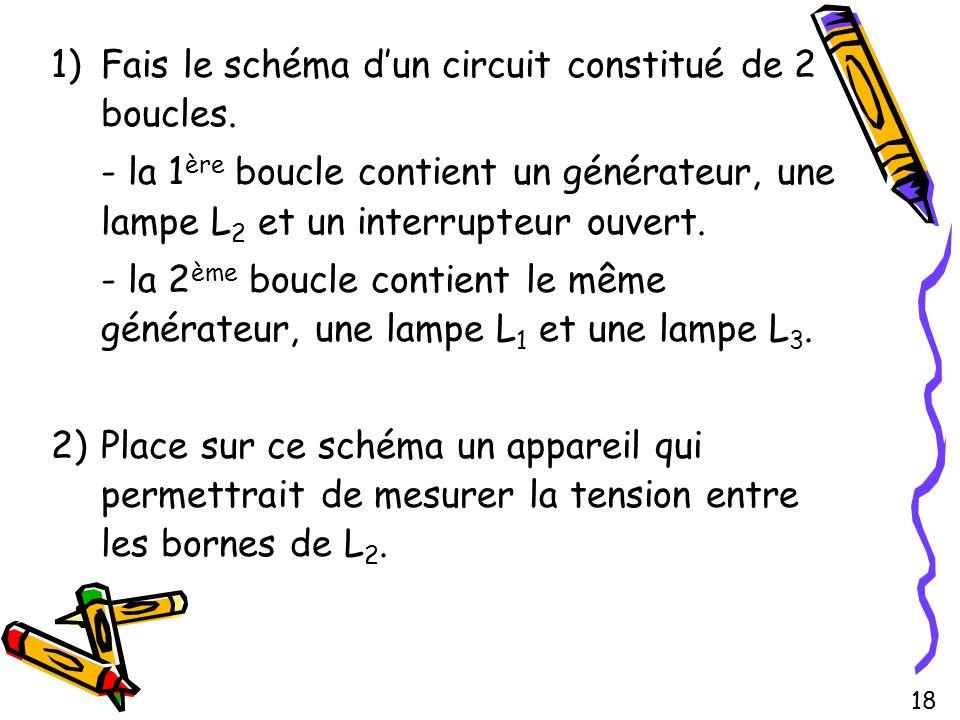 1)Fais le schéma dun circuit constitué de 2 boucles. - la 1 ère boucle contient un générateur, une lampe L 2 et un interrupteur ouvert. - la 2 ème bou