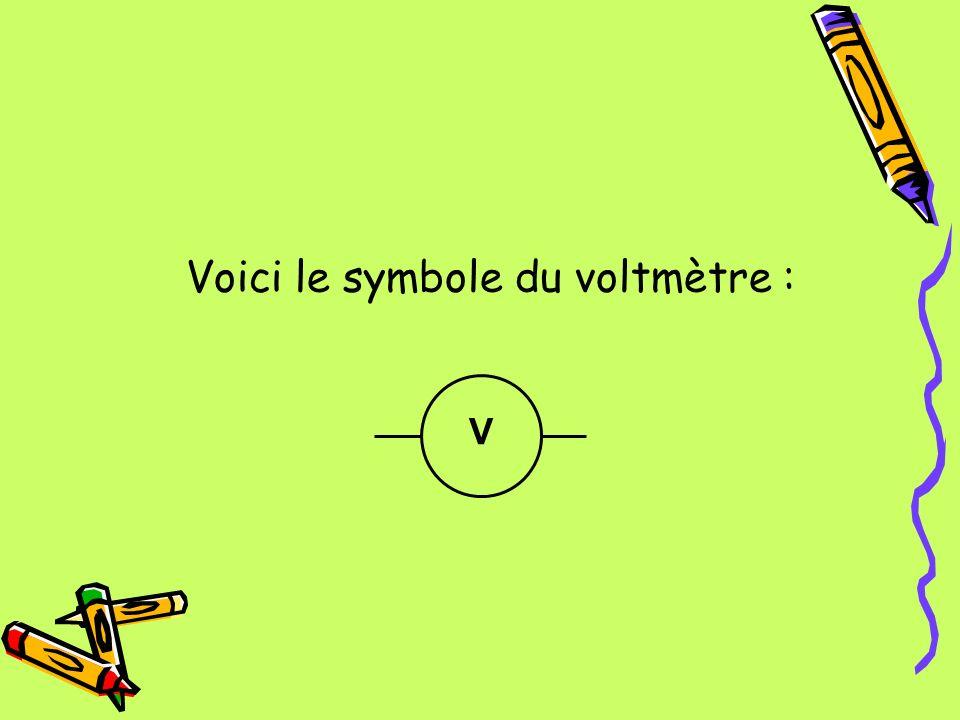 Voici le symbole du voltmètre : V