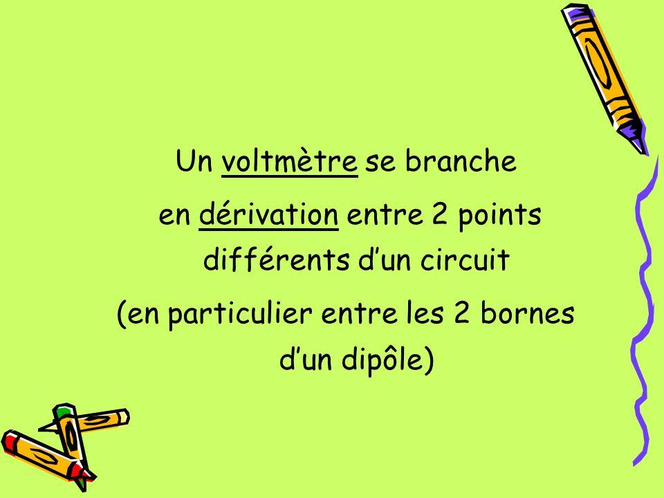 Un voltmètre se branche en dérivation entre 2 points différents dun circuit (en particulier entre les 2 bornes dun dipôle)