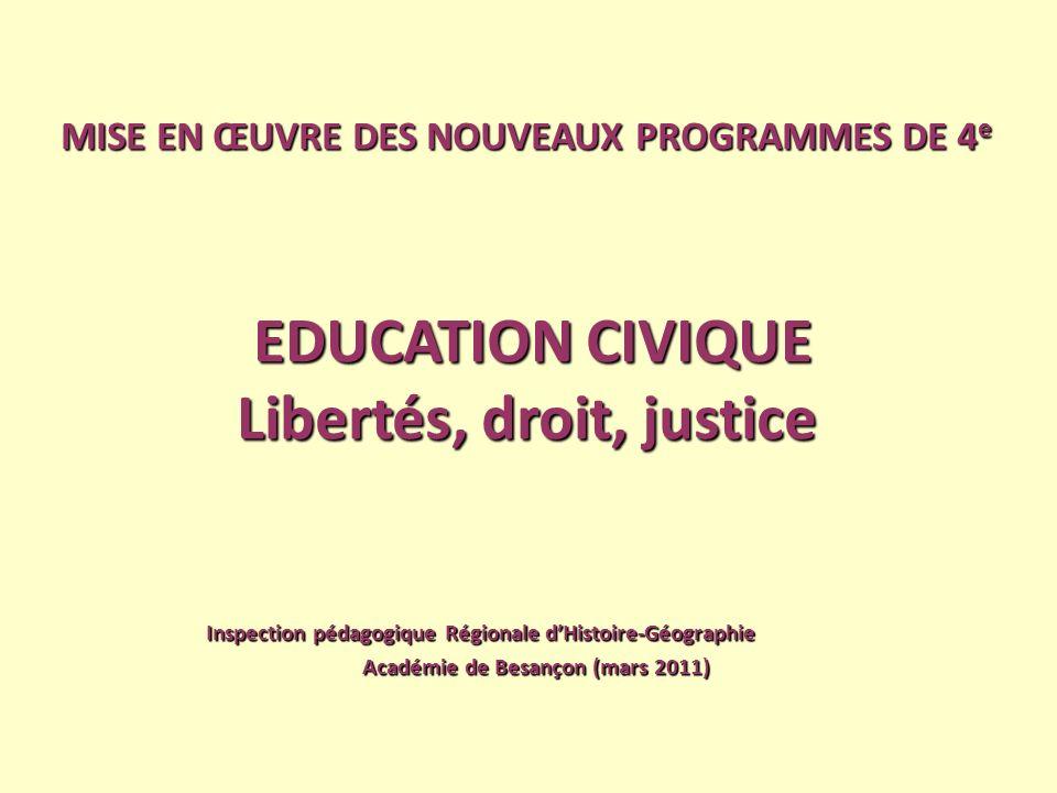 MISE EN ŒUVRE DES NOUVEAUX PROGRAMMES DE 4 e EDUCATION CIVIQUE Libertés, droit, justice Libertés, droit, justice Inspection pédagogique Régionale dHis