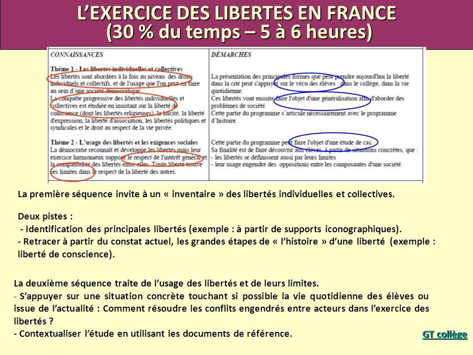 LEXERCICE DES LIBERTES EN FRANCE (30 % du temps – 5 à 6 heures) (30 % du temps – 5 à 6 heures) La première séquence invite à un « inventaire » des lib