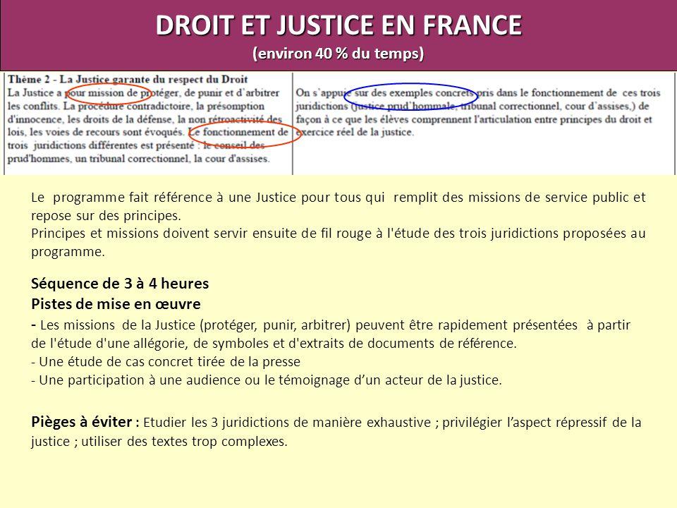 DROIT ET JUSTICE EN FRANCE (environ 40 % du temps) Le programme fait référence à une Justice pour tous qui remplit des missions de service public et r