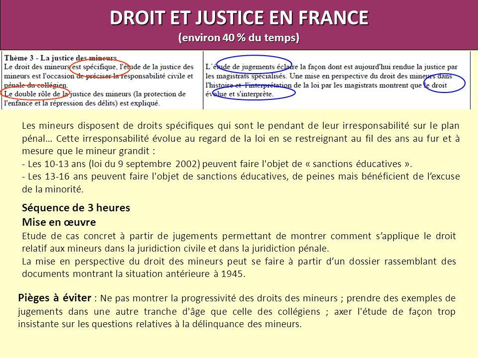 DROIT ET JUSTICE EN FRANCE (environ 40 % du temps) Les mineurs disposent de droits spécifiques qui sont le pendant de leur irresponsabilité sur le pla