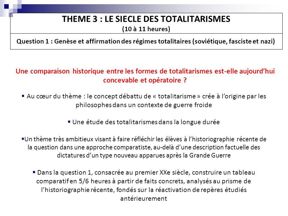 Une comparaison historique entre les formes de totalitarismes est-elle aujourdhui concevable et opératoire ? THEME 3 : LE SIECLE DES TOTALITARISMES (1