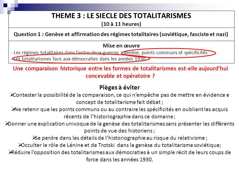 THEME 3 : LE SIECLE DES TOTALITARISMES (10 à 11 heures) Question 1 : Genèse et affirmation des régimes totalitaires (soviétique, fasciste et nazi) Mis