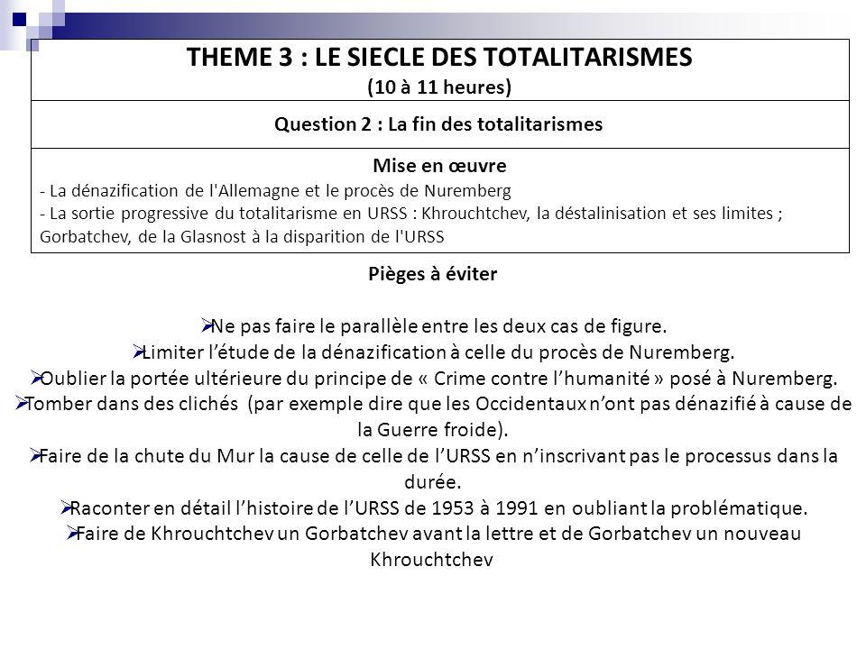 THEME 3 : LE SIECLE DES TOTALITARISMES (10 à 11 heures) Question 2 : La fin des totalitarismes Mise en œuvre - La dénazification de l'Allemagne et le
