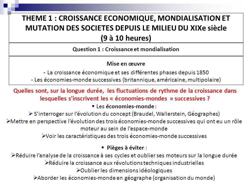 THEME 1 : CROISSANCE ECONOMIQUE, MONDIALISATION ET MUTATION DES SOCIETES DEPUIS LE MILIEU DU XIXe siècle (9 à 10 heures) Question 2 : Mutations des sociétés Mise en œuvre - La population active, reflet des bouleversements économiques et sociaux : l exemple de la France depuis les années 1850 - Une étude : l immigration et la société française au XXème siècle Quelles sont les incidences des fluctuations de la croissance sur lévolution des sociétés .