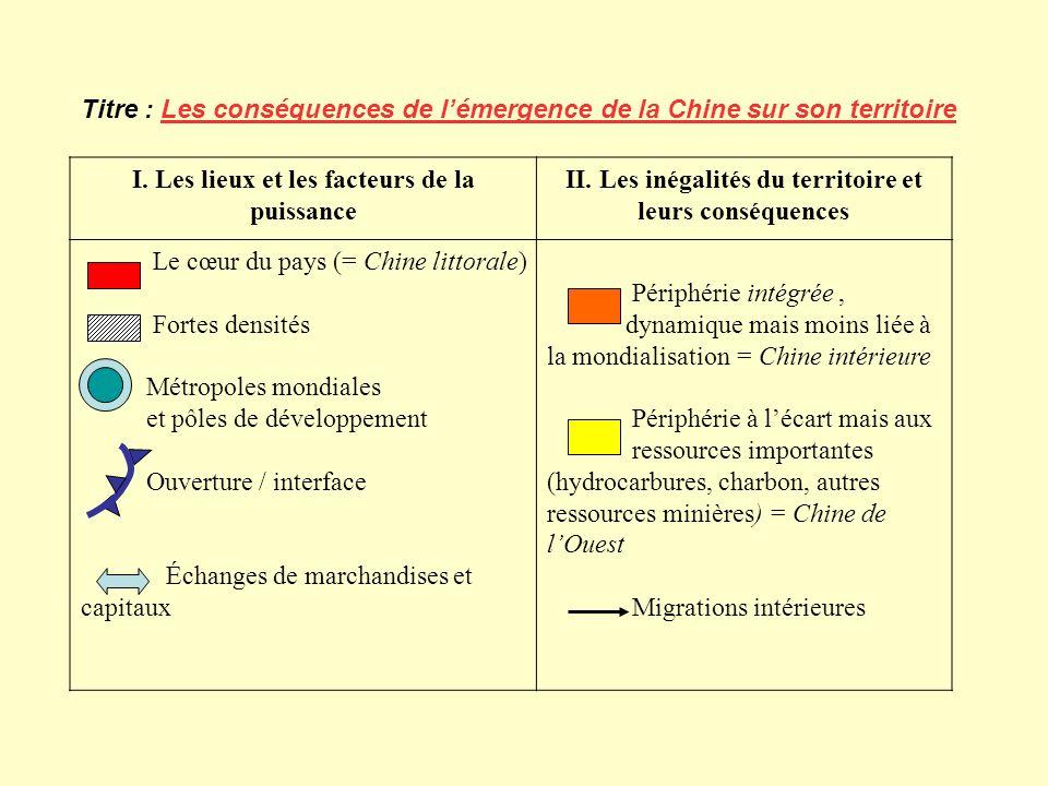 Titre : Les conséquences de lémergence de la Chine sur son territoire I. Les lieux et les facteurs de la puissance II. Les inégalités du territoire et