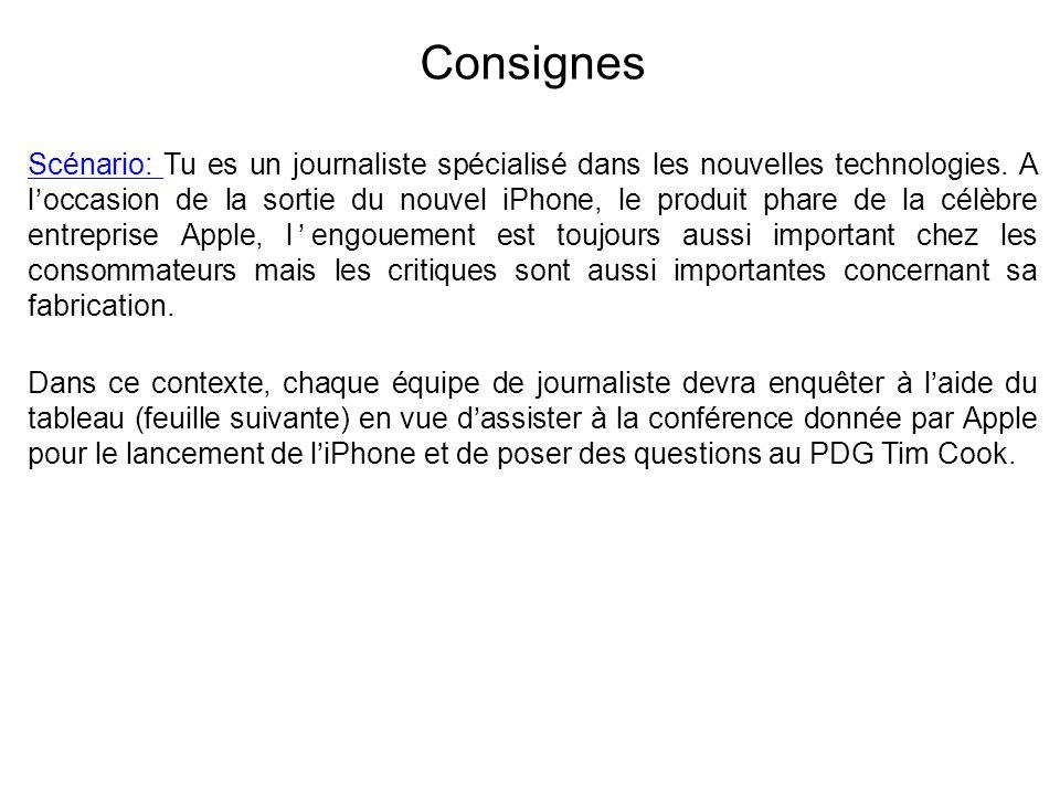 Consignes Scénario: Tu es un journaliste spécialisé dans les nouvelles technologies. A loccasion de la sortie du nouvel iPhone, le produit phare de la
