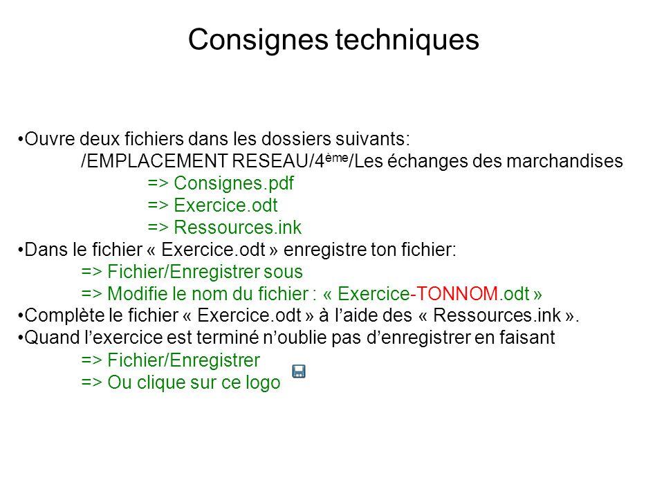 Consignes techniques Ouvre deux fichiers dans les dossiers suivants: /EMPLACEMENT RESEAU/4 ème /Les échanges des marchandises => Consignes.pdf => Exer