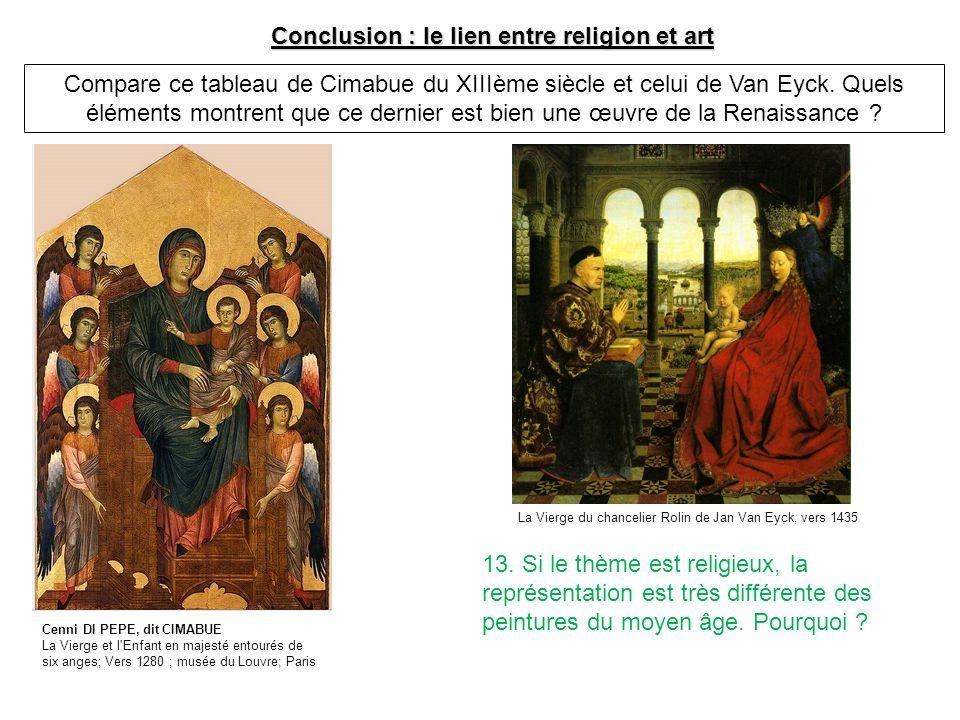Conclusion : le lien entre religion et art Compare ce tableau de Cimabue du XIIIème siècle et celui de Van Eyck. Quels éléments montrent que ce dernie