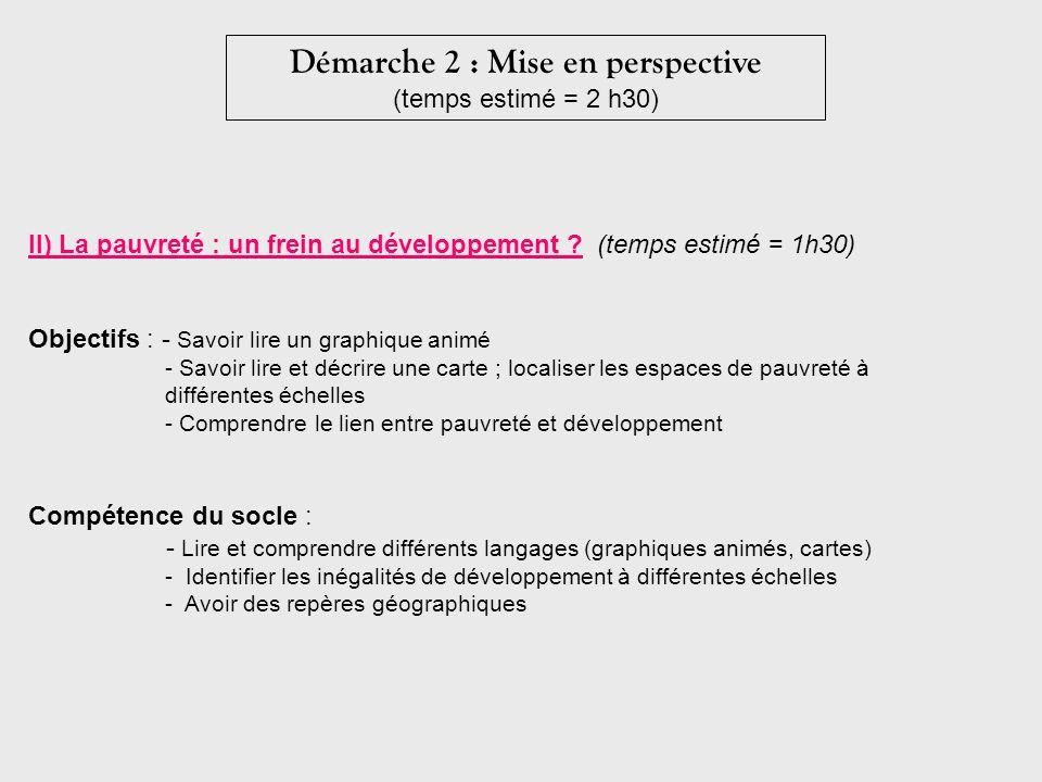 Démarche 2 : Mise en perspective (temps estimé = 2 h30) II) La pauvreté : un frein au développement ? (temps estimé = 1h30) Objectifs : - Savoir lire